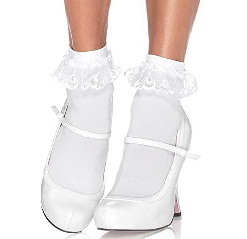 Leg Avenue Women's Lace Ruffle Nylon Anklet Socks, White, One Size