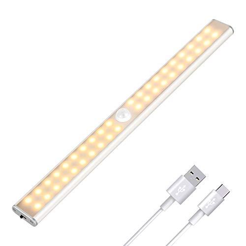 Luce Armadio 40 LED, 4 Modalità, USB Ricaricabile, Wireless Luce Notturna con Striscia Magnetica, Led Guardaroba con Sensore di Movimento per Cucina, Scala, Corridoio ed Emergenze (Bianco caldo)