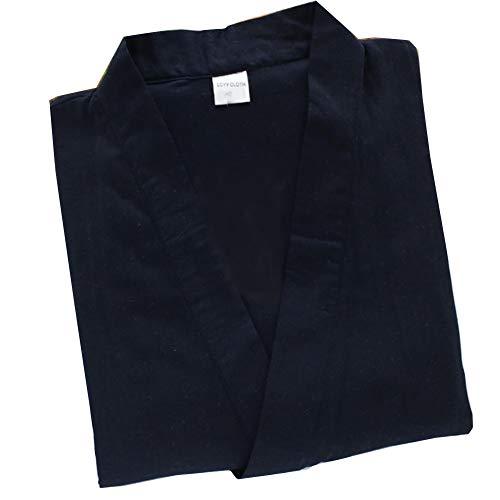 Trajes de estilo japonés de los hombres Pijamas de Kimono de algodón puro flojo traje-Navy M