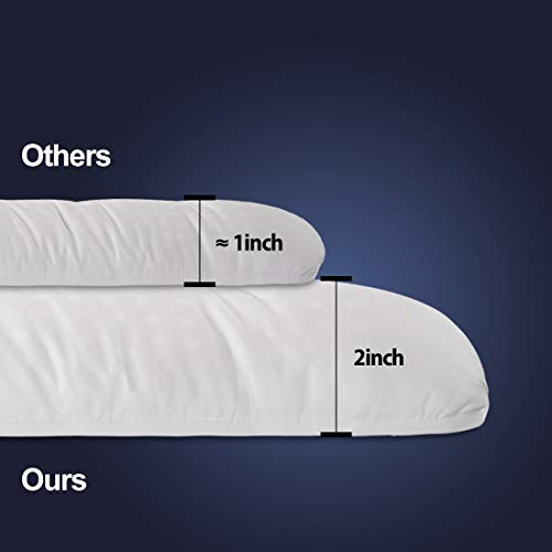 """EDILLY Extra Thick Queen Size Mattress Topper(2 inch), Premium Hotel Quality Mattress Pad Cover,Protector for Bed Cotton Top Pillow Top Ultra Soft Overfilled with Deep Pocket 2.0"""" H Pro"""