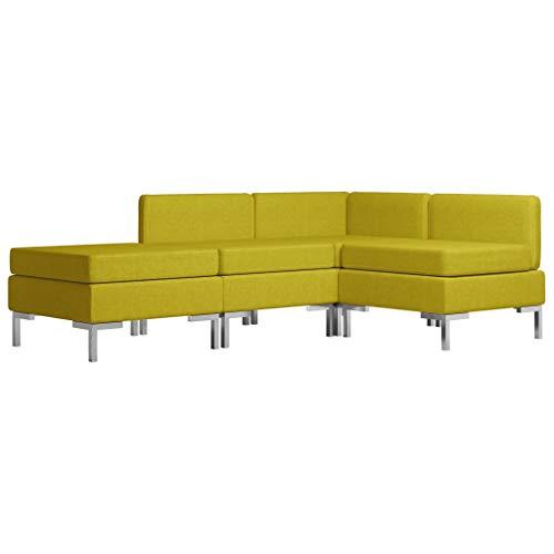 vidaXL Conjunto de Sofás de 4 Piezas Cama Asiento Interior Oficina Sala de Estar Chaise Longue Consola Soporte Dormitorio Recibidor Tela Amarillo