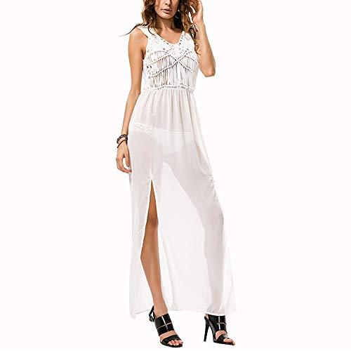 Feixunfan Mujer Vestido de Playa Verano Playa del Vestido con Flecos de la Blusa de la Gasa de la Playa del Bikini Falda de Las Mujeres para Fiesta en la Playa (Color : White, Size : One Size)