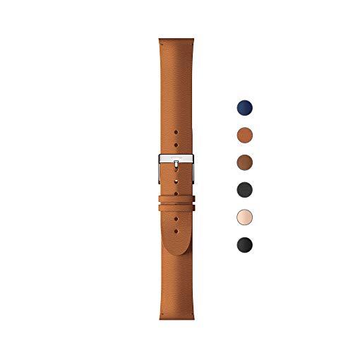 Withings Pulseras deportivas de piel de calidad para los relojes Steel HR, Steel HR Sport, Move ECG, Move y Steel, Marrón - Hebilla plateada - Sin costo, Cuero 18 mm [Exclusiva Amazon]