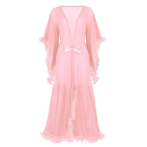 inlzdz Women's Flare Sleeves Feather Bridal Robe Nightgown Tulle Illusion Long Wedding Scarf Coral Pink One Size