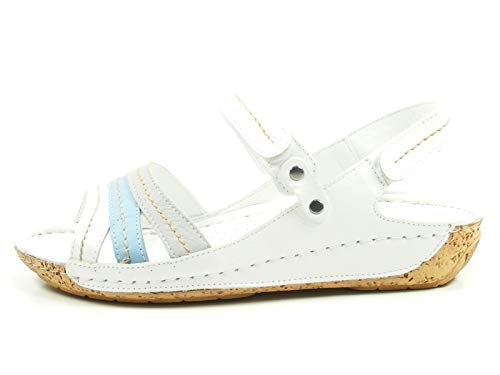 Gemini 032023-02 Schuhe Damen Sandalen Sandaletten, Schuhgröße:39, Farbe:Weiß