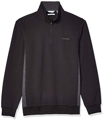 Calvin Klein Men's Classic Quarter Zip Sweater, black, Medium