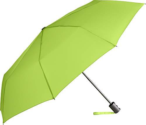 ÖkoBrella nachhaltiger Mini-Taschenschirm – 6 Farben Regenschirm Bezug aus recycelten Materialien - ökologisch sinnvoll hochwertig stabil windsicher (Limette)