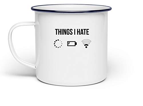 PlimPlom Things I Hate Lustige Programmierer Kaffeetasse Computer Informatiker Geschenkidee - Emaille Tasse -Einheitsgröße-Weiß