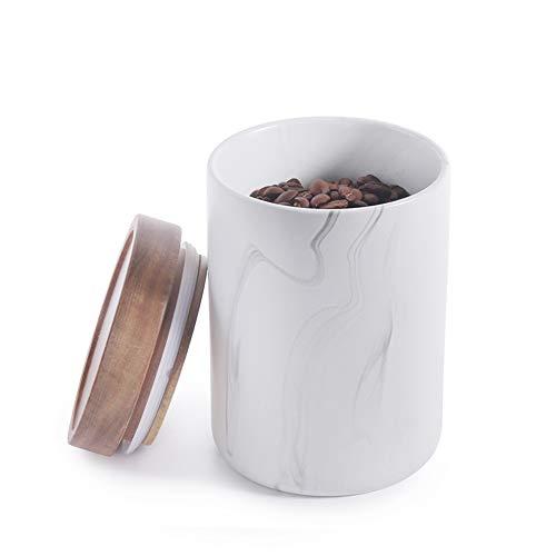 77L Vorratsdose, 700 ML (23.65 FL OZ) Keramik Vorratsdose mit Luftdichtem Verschluss Dickem Bambusdeckel - Marmor Vorratsbehälter aus Keramik zum Servieren von Tee, Kaffee, Zucker, Gewürzen und Mehr