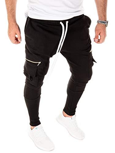 PITTMAN Herren Jogginghose Cargo M457 Männer Jogger Jogginghosen Slim Fit Stylische Coole Joggers Pants eng Jogg Pants, Schwarz (Black 194008), L