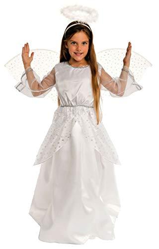 Magicoo Disfraz de ángel para niña, incluye alas, color plateado y blanco, tallas 92 hasta 140 (110/116)