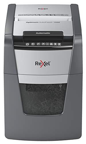Rexel Optimum Autofeed Destructora de Papel de Alimentación Automática y Microcorte P5, 100 Hojas, Papelera Extraíble de 34 Litros, 2020100M