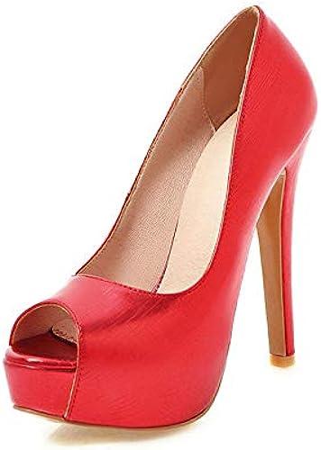 HOESCZS 2018 tamaño 33-48 Resbalón en los zapatos de Las mujeres Peep Toe Thin High Heels plataforma mujer Bombea los zapatos de mujer