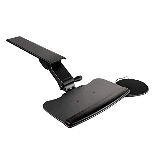FERSGO Under Desk Keyboard Tray, 20' x 11' Tray, 23' Track, Dynamic Height Adjust, Undermount Sliding Computer Keyboard and Mouse Tray with Wrist Rest, Swivels 360°, Adjustable Height and ±15° tilt