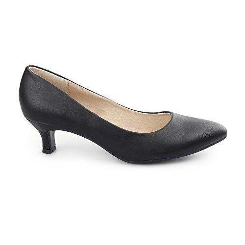 Comfort Plus Texas Ladies Faux Leather Kitten Heel Court Shoes Matte Black UK 5