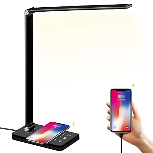 LED Desk Lamp with Wireless Charger, USB Charging Port, BIENSER Table Lamp with 10 Brightness Level, 5 Lighting Color, Dimmable Eye-Caring Desk Lamps for Home Office, Touch Control,30/60min Auto Timer