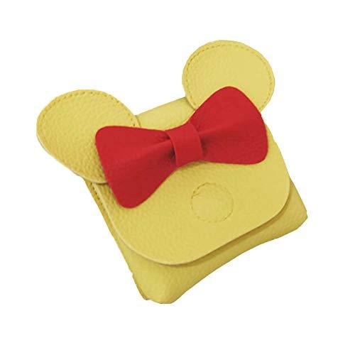 Youndcc Umhängetasche für Kleinkinder, Mädchen, süße Schleife, Maus, Kuppel, PU-Leder -  Gelb -  Einheitsgröße
