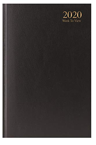 2020 A5 Week to View Diary - WTV A5 Planner Hardback Cover Casebound Black