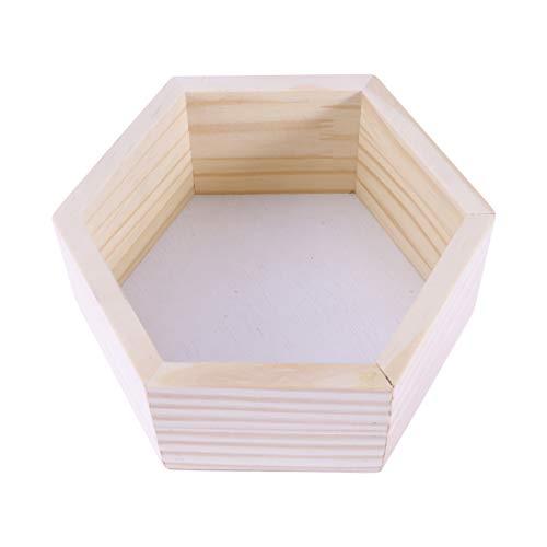 Nbrand - Estantería de pared de madera con estantes hexagonales rústicos, flotantes, organizador de pared de entrada para oficina de tienda en casa (blanco)