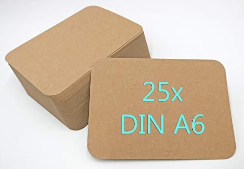 Papermane 25 Stück Kraftpapier Kraftkarton Karten A6 300g/m² Naturkarton braun runde Ecken blanko Postkarten zum selbst gestalten