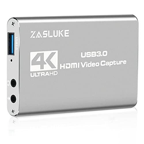 ZasLuke Game Capture Card, USB 3.0 4K Audio Video Capture Card