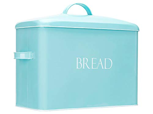 Outshine Extra Large Bread Box, Mint | Countertop Space-Saving Vintage Metal Bread Bin | High Capacity Bread Storage - Holds 2+ Loaves | Farmhouse Bread Box for Kitchen Countertop | Housewarming Gift