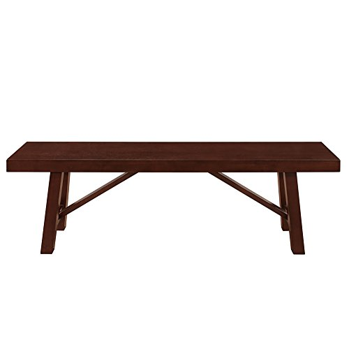 "WE Furniture 60"" Solid Wood Trestle Dining Bench - Espresso, 60"","