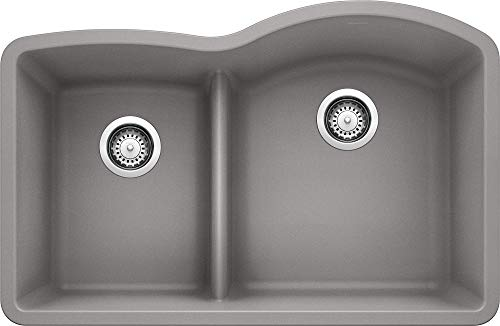 "BLANCO, Metallic Gray 441601 DIAMOND SILGRANIT 40/60 Double Bowl Undermount Kitchen Sink with Low Divide, 32"" X 21"""