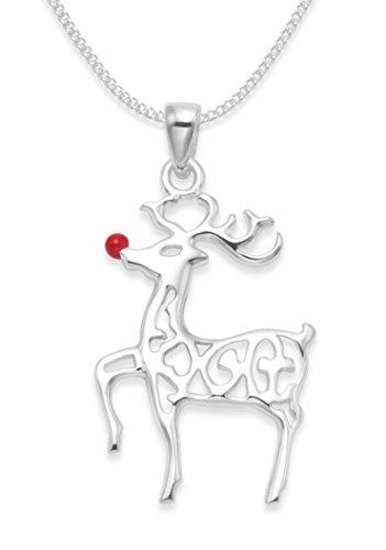 In confezione regalo natalizia, collana in argento Sterling con Rudolph la renna dal naso rosso con catenina. Misure: S: 21 mm x 10 mm circa. L: 35mm x 18mm. - e Argento, cod. 8094/B43xmas/18'chain