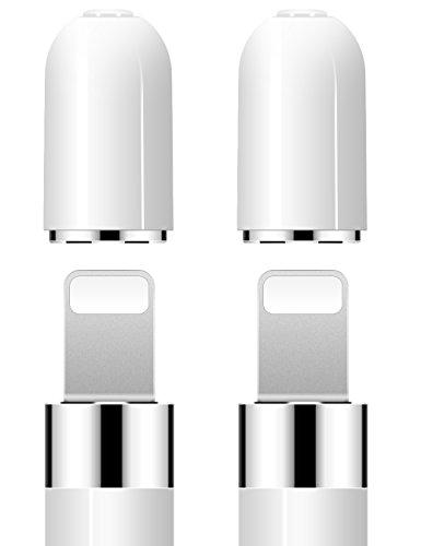 iMangoo Pencil Kappe, 2 Stück iPencil Magnetische Ersatzkappe für Apple Pencil Verwenden Sie für Backup Schutzdeckel Schützen Sie Ladeport Weiß