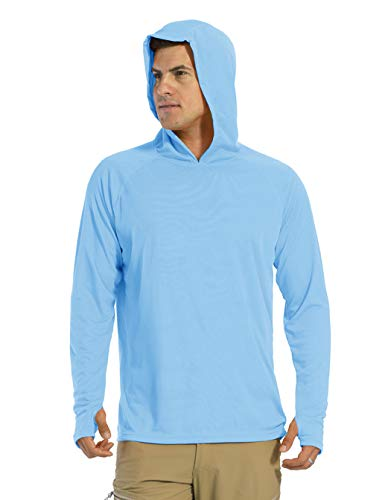 KEFITEVD Camiseta de manga larga para hombre, protección solar UPF 50+, con capucha, agujero para el pulgar, de secado rápido, camiseta funcional para pesca, senderismo azul XXXL