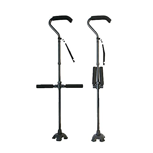 Bastón para Caminar Plegable Ajustable Ayudas para Caminar De Aluminio Flexibles Y Duraderas con Base Antideslizante Altura Ajustable 87-97Cm para Hombres Mujeres Ancianos Duradero