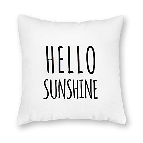 Georgia Barnard Decorative Pillow Case, Hello Sunshine Pillow Cover, Rae Dunn Inspired Pillow Cover, Summer Decor, Farmhouse Summer Pillow Cover Cushion Case for Sofa Bedroom Car Couch, 20 x 20 Inch