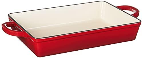 Crock Pot Artisan 13 Inch Enameled Cast Iron Lasagna Pan, Scarlet Red