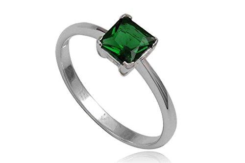 EYS JEWELRY Damen-Ring 925 Sterling Silber Zirkonia 60 (19.1) smaragd-grün