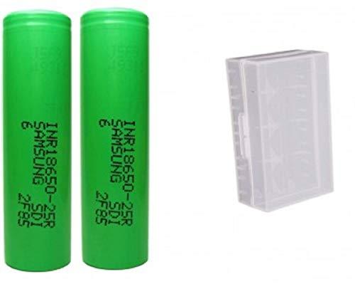 Carcasa de plástico con 2 pilas 100 % originales para Samsung INR18650-25R (2500 mAh)