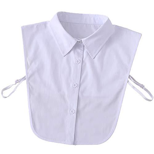 Camisa unisex desmontable con cuello falso, agradable al tacto, cómodo, todo a juego, blusa para decoración diaria, trabajo, escuela, ocasiones formales, color blanco