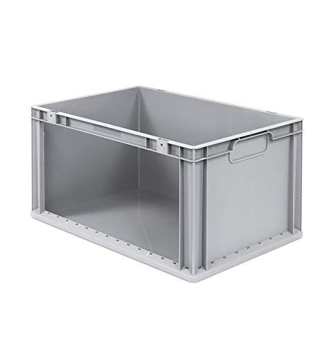 aidB Eurobox NextGen Store Seite offen, 600x400x320 mm, robuste Regalbox mit Entnahmeöffnung, stapelbare Kunststoffkiste, ideal für die Industrie
