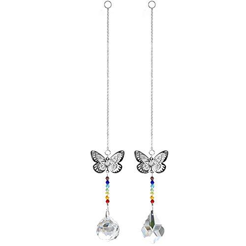 N/A 2 Stück Schmetterling-Anhänger Ahornblatt Kristall Regenbogenkugeln für Zuhause Fenster hängende Dekoration