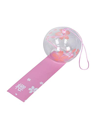 FBBULES Japanische Wind Glockenspiel Rosa Kirschblüte, mit Tag - Glas Hängende Verzierung, 40cm, für Hausgarten Fensterdekor und als Geschenk