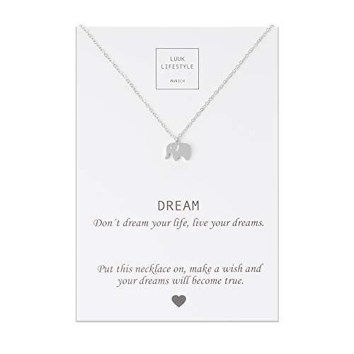 LUUK LIFESTYLE Collar de acero inoxidable con colgante de elefante y tarjeta de DREAM, amuleto de la suerte, cadena de la amistad, regalo de cumpleaños, Navidad, plata