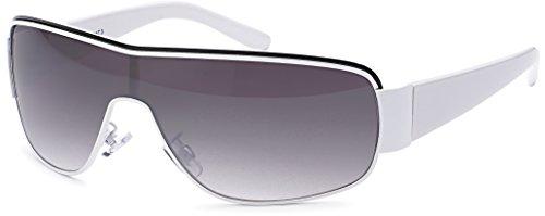 FEINZWIRN Designer Visor Sonnenbrille mit Monoscheibe und Verlaufsglas Unisex Sonnenbrillen (Weiss)
