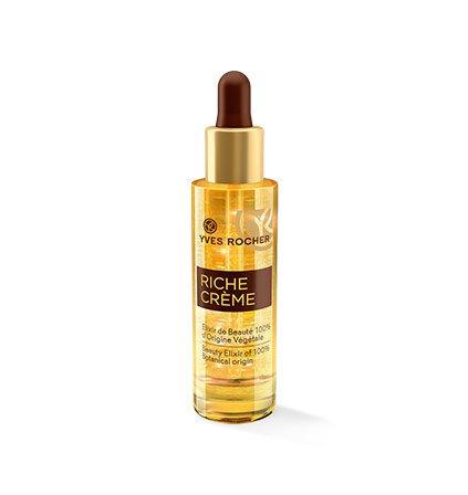 Yves Rocher RICHE CRÈME Schönheits-Elixier, Intensiv-Konzentrat für reife Haut, zur Zellerneuerung, 1 x Glas-Flacon mit Pipette 30 ml