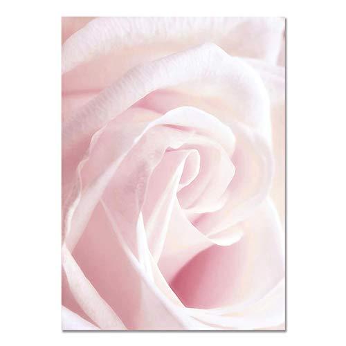 U/N Carteles e Impresiones nórdicos de Plantas Naturales de peonía Rosa con Flor Rosa, Cuadros artísticos en Lienzo para Pared, Cuadros para el Dormitorio del hogar-5
