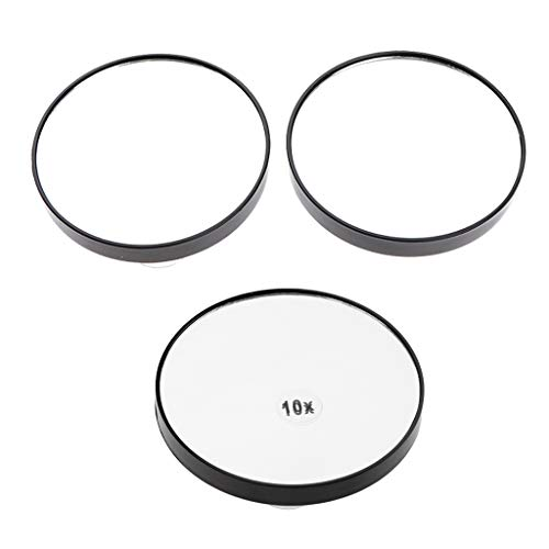 IPOTCH 3pcs Make-up Spiegel Kosmetikspiegel 5-fache 10-fache Vergrößerungsspiegel, Runde Schminkspiegel mit Saugnäpfen, ø 7.5 cm