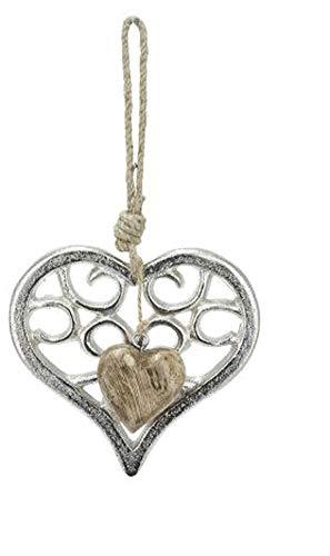 GILDE - Ciondolo in metallo a forma di cuore con legno, 25 cm x 14 cm x 0,30 cm, con cordoncino, per finestra