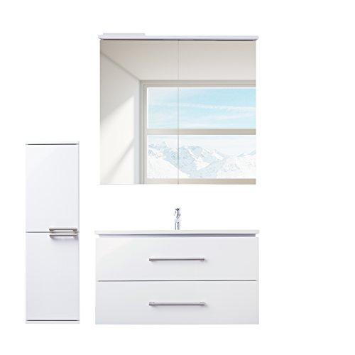 ZLATA badrumsmöbler set 4 delar med tvättställsskåp, keramiskt tvättställ, LED-spegelskåp och mellanskåp | mått (tvättplats): 85 cm x 55 cm x 45 cm (BxHxT) | Märke JUVENTA * serie ZLATA | Högkvalitativt keramiskt handfat | möbler med utmärkt högglans