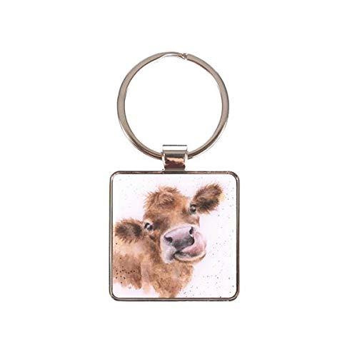 Wrendale Schlüsselanhänger MOOO Cow Kuh 4x4cm weiß braun Metall Silber Design