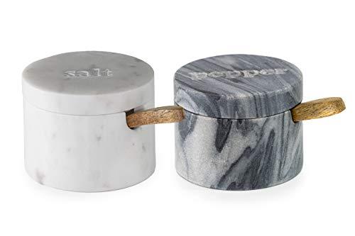 Fair Trade Küchenutensilien Salz- Und Pfefferdosen Set Marmor Mit Löffel Und Deckel Salztopf Stein
