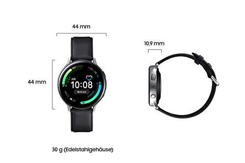 Samsung Galaxy Watch Active2, Fitnesstracker aus Edelstahl, großes Display, ausdauernder Akku, wassergeschützt, 44 mm, LTE, Silber